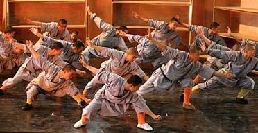 Monks practice their moves for Sidi Larbi Cherkaoui's Sutra