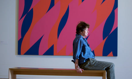 Bridget Riley at her Flashback exhibition at the Walker Art Gallery