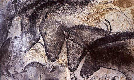 Charcoal horses' heads in the Ardèche's Chauvet cave