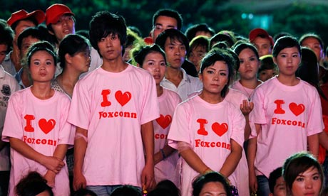 Foxconn workers at a rally in Guangdong province, China