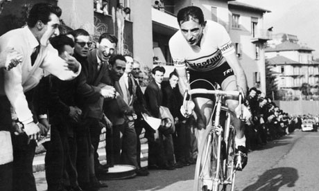 Fausto Coppi cycling in the Giro d'Italia in the 1950s
