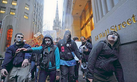 Group of protesters dressed as 'corporate zombies' in Wall Street