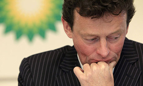 BP Chief Executive Tony Hayward listens during a news conference  in London