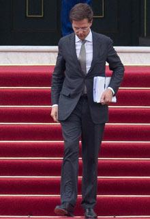 Dutch prime minister Mark Rutte leaves royal palace Huis ten Bosch after meeting Queen Beatrix.