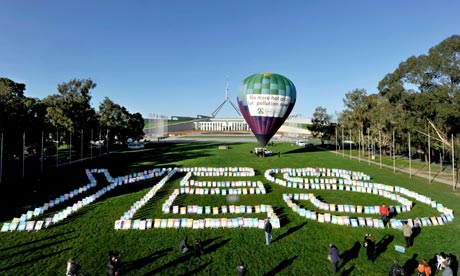 Parliament House during a pro-carbon tax rally in Canberra, Australia