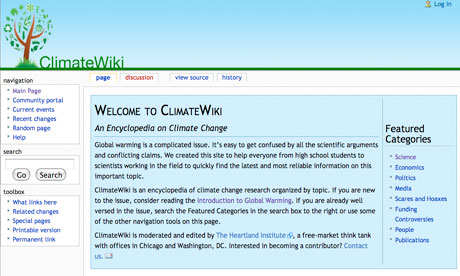 Screengrab of the ClimateWiki front page. Photograph: ClimateWiki.org