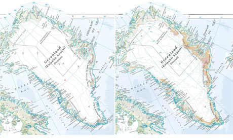 Greenland ice cover in Times Comprehensive Atlas of the World
