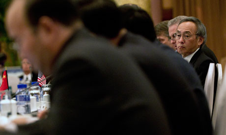 The US secretary of energy, Steven Chu, right, at the fourth Carbon Sequestration Leadership Forum (CSLF) in Beijing.