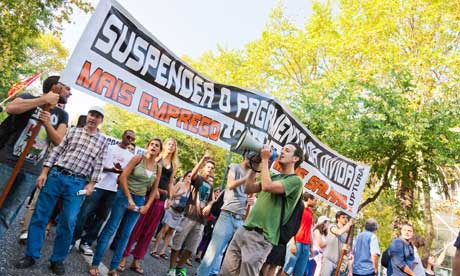 MDG : IMF and debt payment : Demonstration in Lisbon Portugal