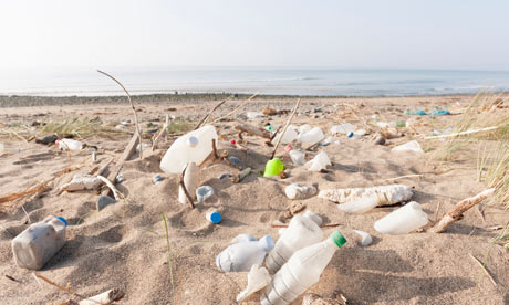 Sea plastic pollution: Plastic bottles and other rubbish washed up on a beach