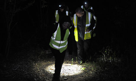 Protesters from 'Camp Badger' near Watchet in Somerset go on a walk in the cull zone