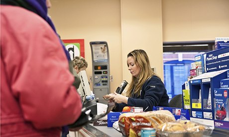 Check out operator in a Tesco supermarket