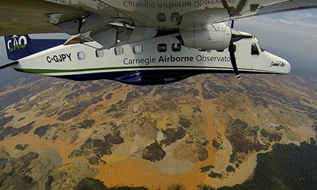 Gold mining: The Carnegie Airborne Observatory flies over the Madre De Dios region of Peru