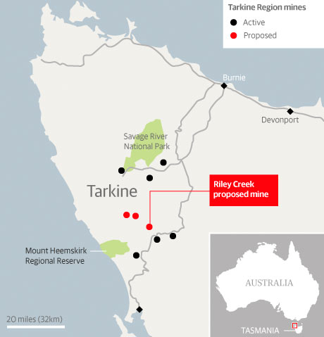 Mines proposed in the Tarkine region of Tasmania