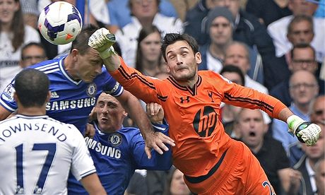 Tottenham Hotspur's Hugo Lloris punches the ball clear against Chelsea earlier this season