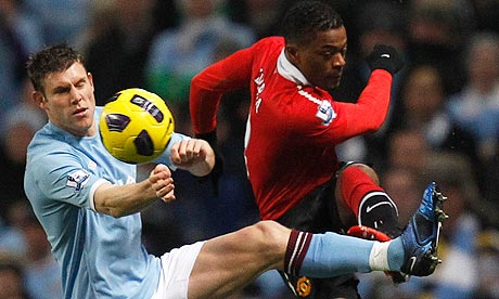James Milner challenges Patrice Evra