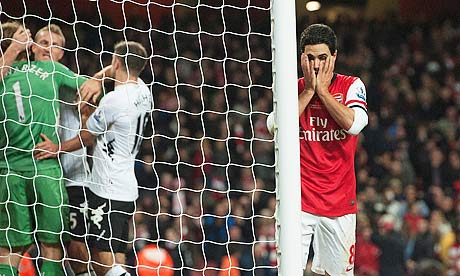 Arsenal's Mikel Arteta holds his head in his hands after he misses penalty against Fulham.