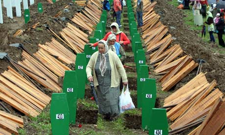 Burial in Srebrenica of 534 Bosnian Muslims
