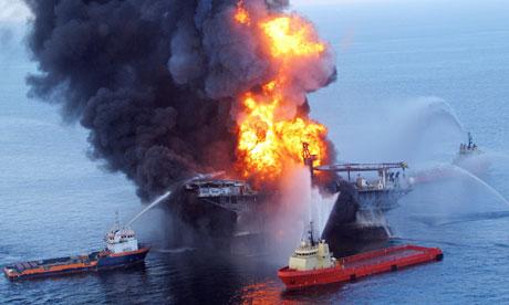 Fire burning at  Deepwater Horizon oil rig