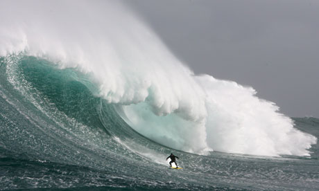 Big wave surfing off Cape Town, South Africa
