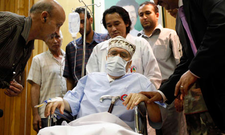 Abdelbaset al-Megrahi sits in his wheelchair in a Tripoli hospital