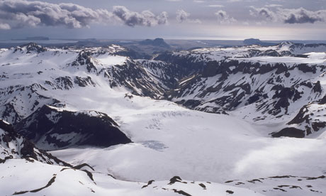 Katla Volcano under Myrdalsjokull Ice Cap, Iceland