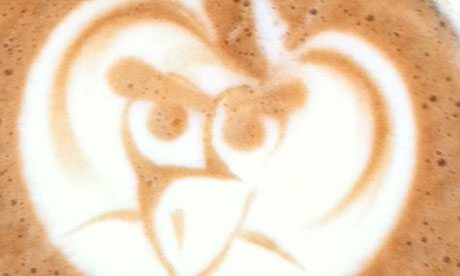 cappuccino froth showing angry birds image