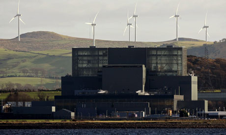 A windfarm near Hunterston power station in Largs, Scotland
