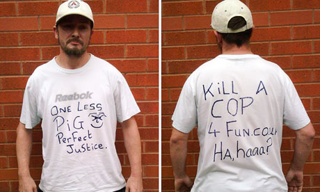 Barry Thew wore the anti-police T-shirt in public just hours after the killings of two PCs
