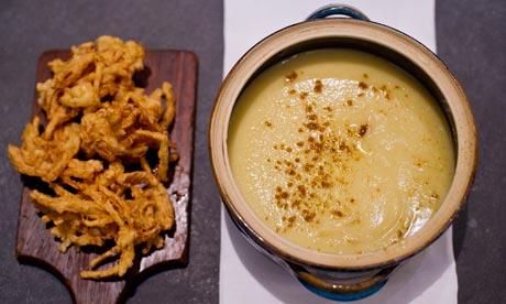 Spicy parsnip soup with onion bhaji