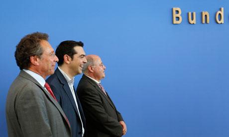 Klaus Ernst, Alexis Tsipras, Gregor Gysi in Berlin.