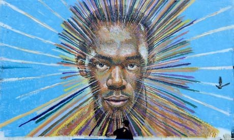 Usain Bolt mural in london car park