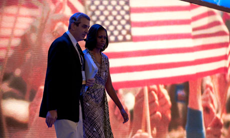 Michelle Obama prepares for her speech at the Democratic national convention in  Charlotte
