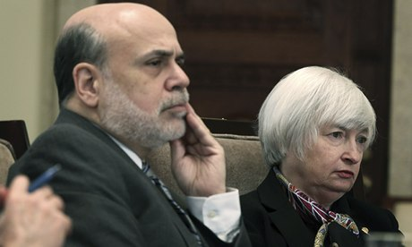 Federal Reserve chairman Ben Bernanke and his successor Janet Yellen