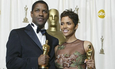 Oscar winners Halle Berry and Denzel Washington in 2002.