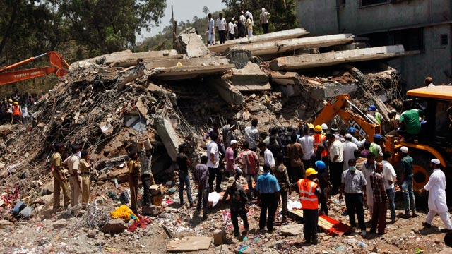 Collapsed building in Mumbai leaves 45 dead.