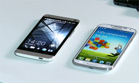HTC phone next to Samsung phone