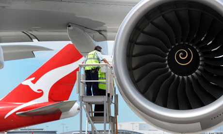 A Qantas A380 being prepared for flight. The airline plans to build a biojet fuel plant in a deal with US group Solena. Photograph: James D. Morgan / Rex Features
