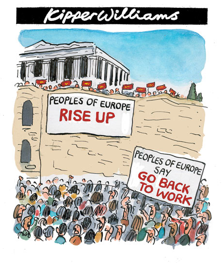State sponsored academics and a 'free' media blames the 'lazy-people', whereas the problem in the Eurozone is a overvalued Euro - which the Euro-rulers needs for their power games. (Greek protesters storm Acropolis while markets plunge over debt crisis   |  Kipper Williams  |  Source, courtesy and publication date: - guardian.co.uk, Tuesday 4 May 2010 21.21 BST). Click for source image.