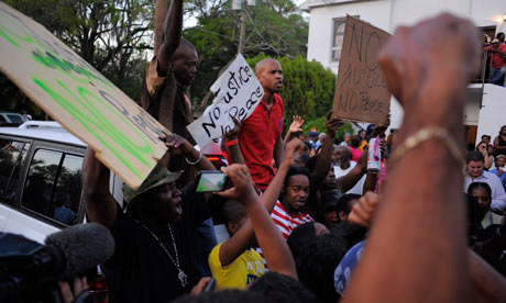 Residents protest lack of arrest for killer of Trayvon Martin in Sanford, Florida
