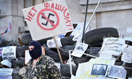Pro-Russian activists outside Donetsk regional administration building