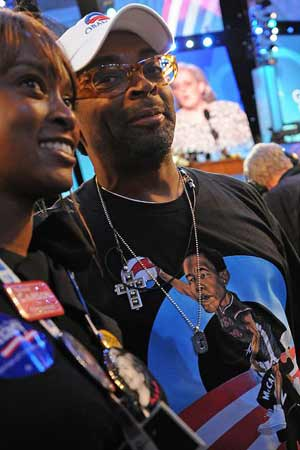 spike lee wearing obama dunk shirt