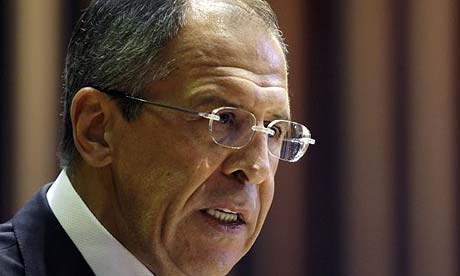 The Russian foreign minister, Sergey Lavrov, speaks in Moscow