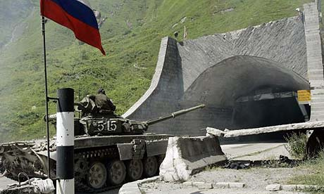 A Russian armoured vehicle enters the Roki tunnel in South Ossetia