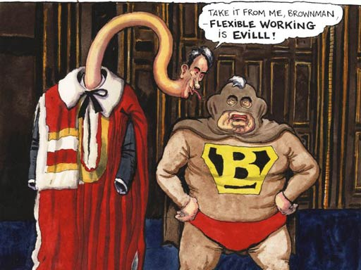 Steve Bell on Gordon Brown, Peter Mandelson and flexible working