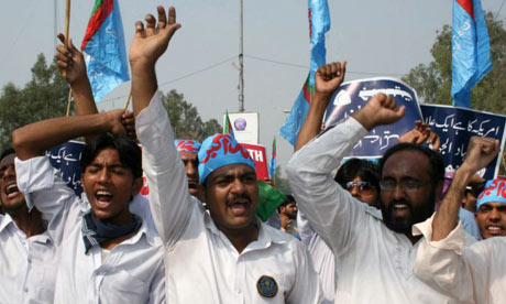 Members of religious party Jamaat e-Islami yesterday at a protest against US airstrikes along Pakistan's border with Afghanistan