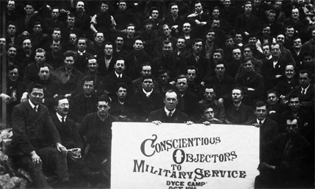 A crowd of conscientious objectors to military service during the first world war at a special prison camp