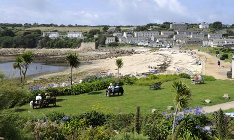Porthcressa Beach in Hugh Town, St Marys, Isles of Scilly, where islanders are taking part in an energy-saving experiment. Photograph: Richard Sowersby/Rex Features