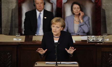 Angela Merkel adresses Congress on Capitol Hill, Washington DC, USA, 3 Nov 2009
