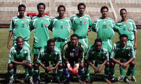 The Eritrean national team before the start of the match against Tanzania, in Nairobi.